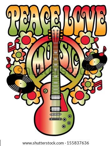 PEACE LOVE MUSIC text design with peace symbol, guitar, vinyl records, flowers and musical notes in red and green gradients. - stock vector