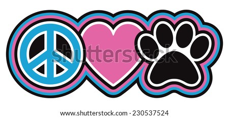Peace-Love-Pets Icon design of a peace symbol, heart and paw print in a retro outlined style.