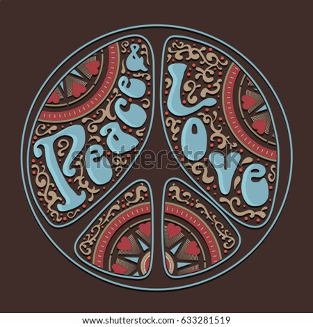 Peace love typography, tee shirt graphics, vectors