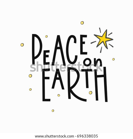 Peace on Earth Merry Christmas Happy New Year simple lettering. Calligraphy postcard or poster graphic design element. Hand written sign. Photo overlay Winter Holidays vector. Santa