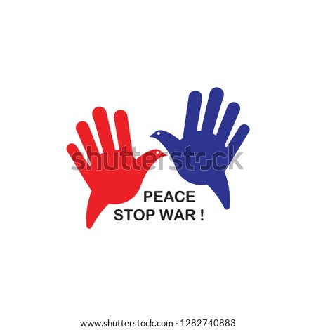 peace pigeon hand palm stop war symbol vector
