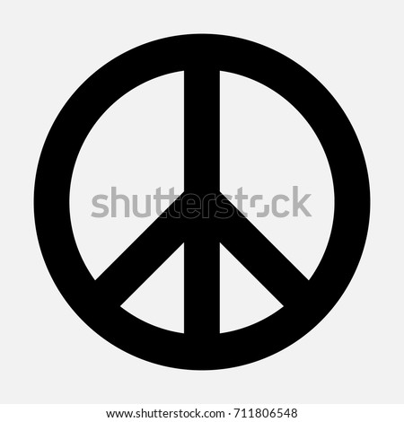Peace sign, black isolated icon, vector illustration.