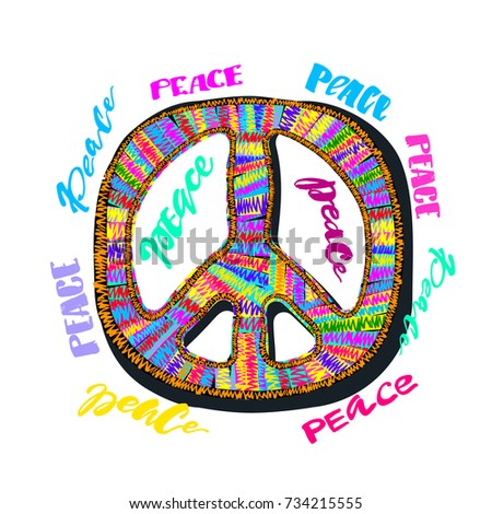 Peace sign. Bright embroidery and lettering in the style of hippies.