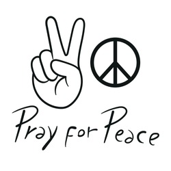 Peace sign icon. Hand gesture. Vector illustration.