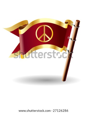 Peace sign icon on vector flag button