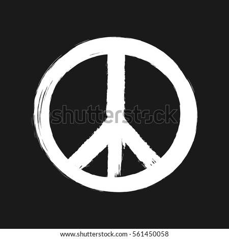 Peace sign painted brush. White hippie logo isolated on black background.  Grunge.