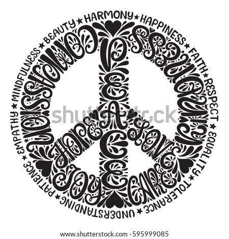 Peace Sign Vector illustration - Hand drawn lettering design with words love, hope, care, kindness, love, joy and others. For t-shirt, emblem, logo, poster. Unique creative typography design.