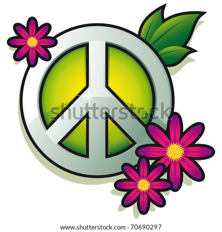 Peace sign with pink flowers isolated on white background - vector