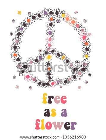 peace symbol made of flowers. hippie vector design.