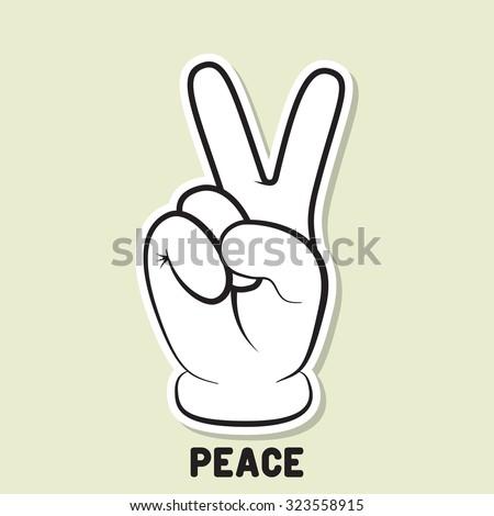 Peace symbol. Peace hand gesture. Peace sticker design