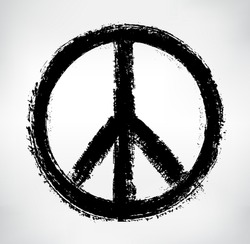 Peace symbol.Vector grunge pacifist sign.