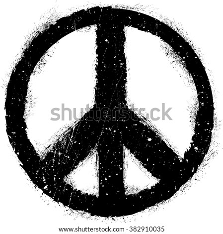 Peace Symbol Vector in grunge style.element for your Design.Sign textured for your design