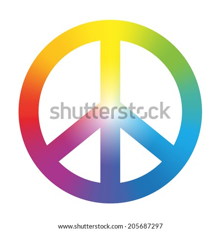 Peace symbol with circular rainbow gradient coloring. Isolated vector illustration on white background.