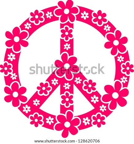 Peace symbol with flowers - Vector image