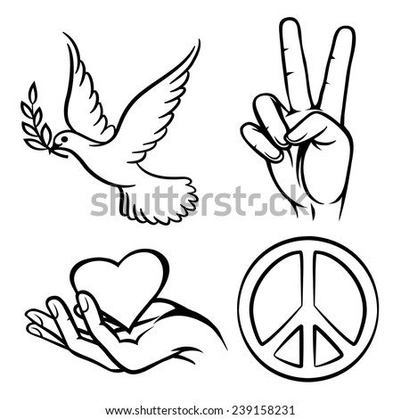 Peace symbols. Two thumbs up. Dove carries an olive branch. And a warm Heart. Vector illustration