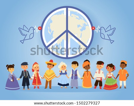 Peace united nations, vector illustration. People of different races, nationalities, countries and cultures holding hands. Peaceful characters in traditional costumes together under emblem of peace
