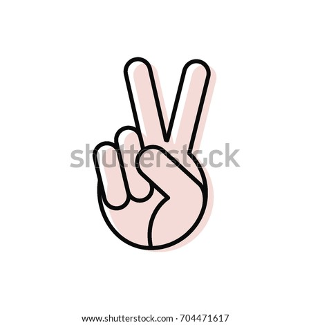 Peace vector icon. The hand shows a gesture. International Peace Day. Beautiful vector illustration