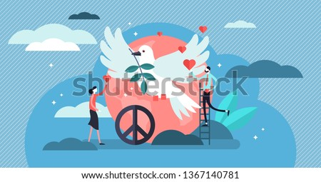 Peace vector illustration. Flat tiny love, calm and harmony day persons concept. Symbolic dove bird as global hope and relax. Hippie sign and friendship care. Happy and spiritual togetherness elements