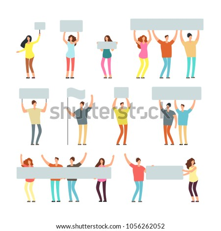 Peaceful man, woman holding banners and placards. People at demonstration, picket. Vector isolated characters for peace protest concept. Demonstration with placard, picket worker illustration