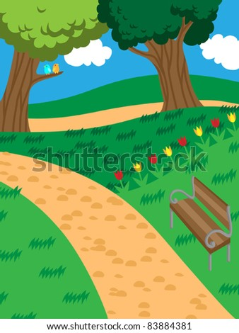 Peaceful park with trees, tulips and a bench, vector illustration - stock vector