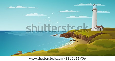 peaceful seaside landscape with