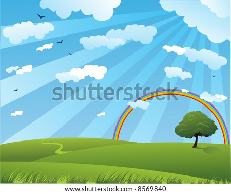 Peaceful summer landscape with rainbow