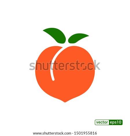 Peach icon,vector illustration. Flat design style. vector peach icon illustration isolated on White background, peach icon Eps10. peach icons graphic design vector symbols.