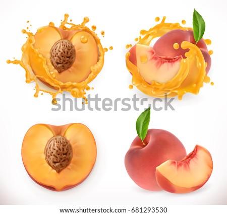 Peach juice. Fresh fruit, 3d vector icon