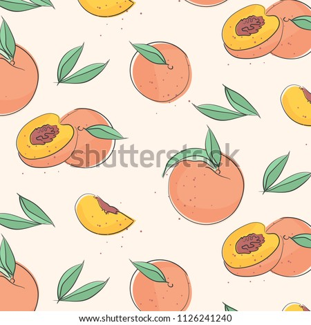 Peach macro fruit with leaves. Tropical nectarine wallpaper, juicy organic food pattern. Vitamin textile cover. Surface background.