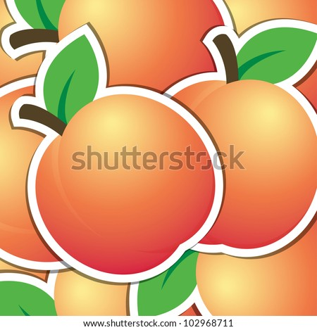 Peach sticker background/card in vector format.