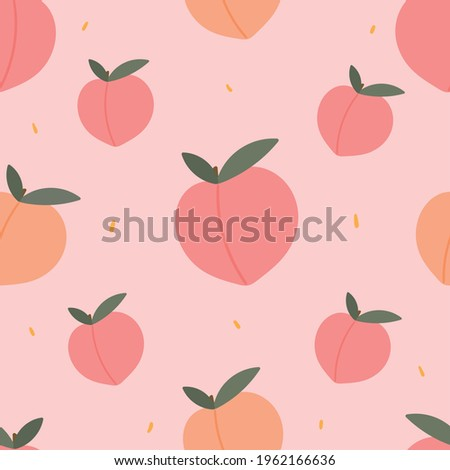 Peaches seamless pattern for apparel design, textile, fabric. Cute background with peaches fruits.