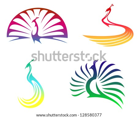 Peacock birds with colorful feathers isolated on white for mascot or any another design. Jpeg version also available in gallery