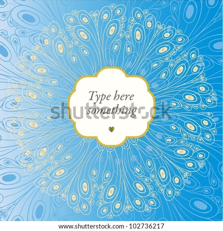 Peacock decorative ornamental beige-yellow circle background in art deco style. - stock vector