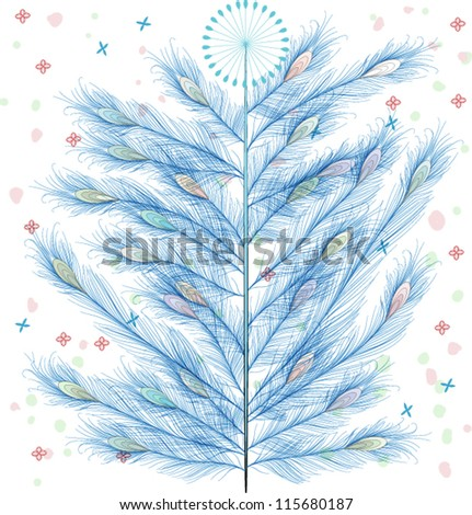 Peacock Feathers hand drawn Christmas tree, EPS10 Vector background