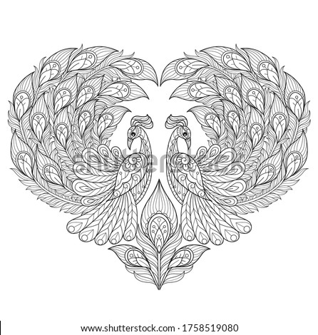 Peacock heart. Zentangle stylized cartoon isolated on white background.  Hand drawn sketch illustration for adult coloring book.   Foto stock ©
