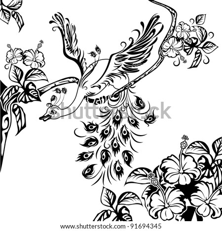 Peacock on a tree branch full of flowers of hibiscus. Black and white illustration.