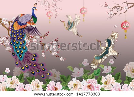 Peacock on the branch, plum blossom and cranes bird  flying on a beautiful background