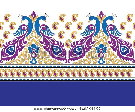 Peacock pattern in border