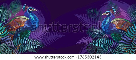 peacocks and palm leaves banner