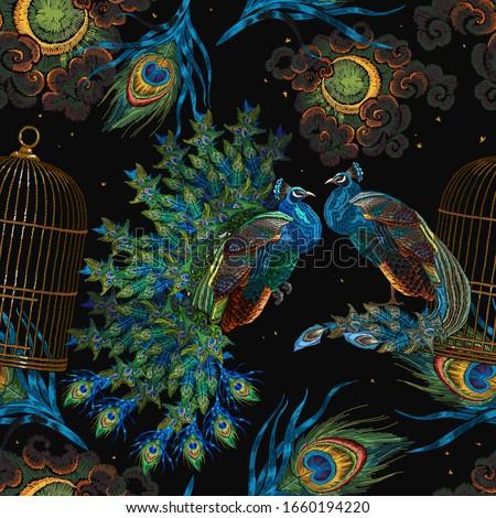 peacocks birds  golden cage