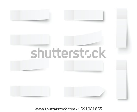 Pealistic sticky notes mockup, post stickers with shadows isolated on a white  background. Paper sticky tape with shadow. Vector paper adhesive tape, rectangle empty office blanks - stock vector.