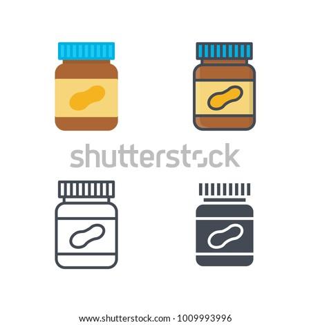 Peanut butter breakfast flat line icon