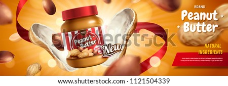 Peanut butter spread appeared from nut pod with explosion effect in 3d illustration