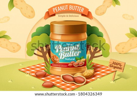 Peanut butter spread product on a picnic plaid in the park with peanut in shell  in 3d illustration