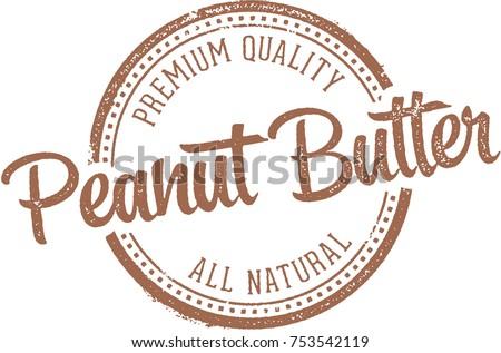 Peanut Butter Vintage Vector Stamp