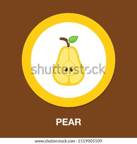 pear icon, fresh fruit illustration, organic nature symbol