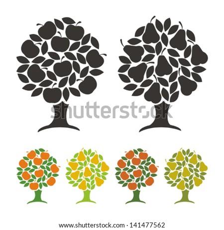 pear tree and apple tree
