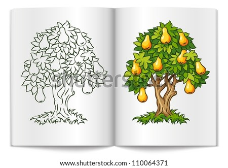 pear tree with ripe fruits on book spread vector illustration isolated on white background