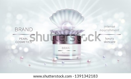 Pearl cosmetics, vector realistic advertising poster. Shiny luxury packaging for cosmetic anti-aging product, open shell and precious pearls on nacreous background, mock up for glossy magazine