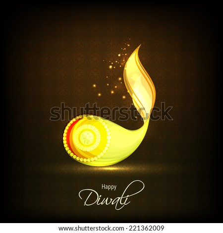 Pearl decorated illuminated oil lit lamp with stylish text of Diwali for Diwali celebration on shiny dark brown background